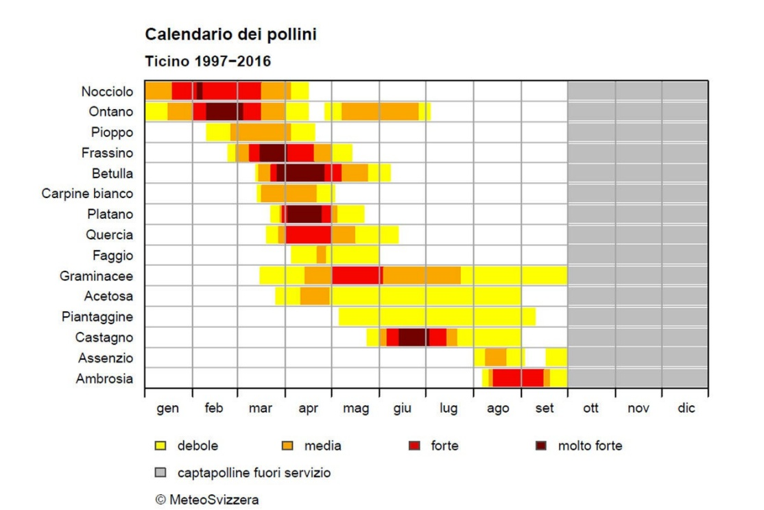 Visione ingrandita: Fig. 3: Calendario dei Pollini in Ticino