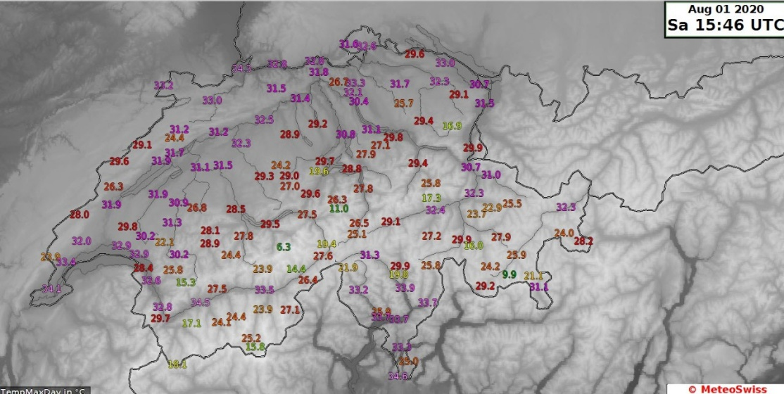 Visione ingrandita: Temperature massime il 1. agosto 2020 in Svizzera.