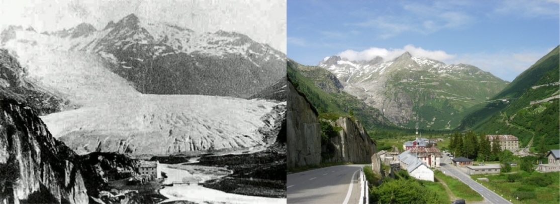 Visione ingrandita: View from Gletsch (canton of Valais) of the Rhone Glacier in 1855/1856 and 2009